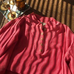 Vintage Pink LL Bean Henley Sweater